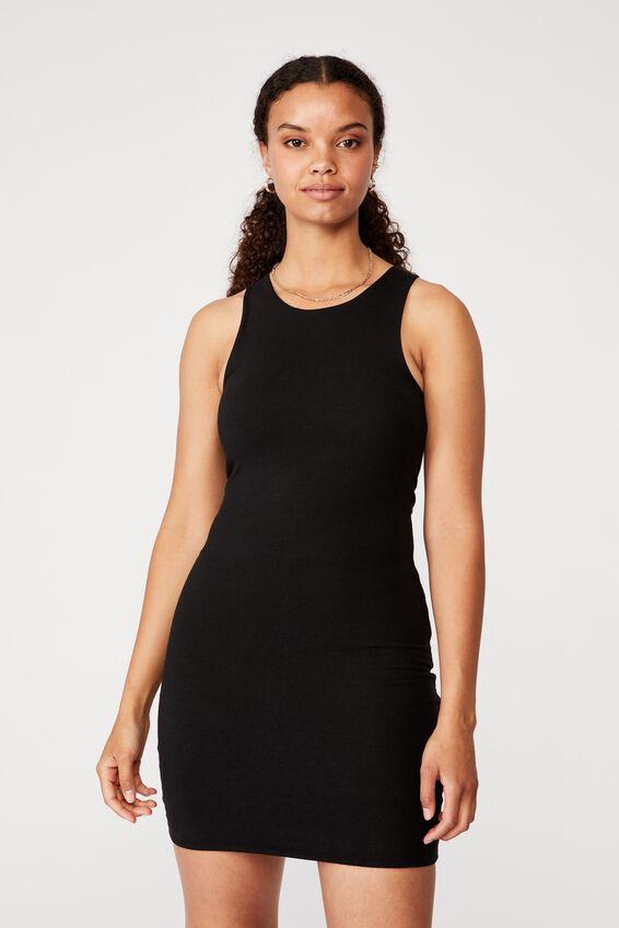 Lea Racer Back Mini Dress, BLACK