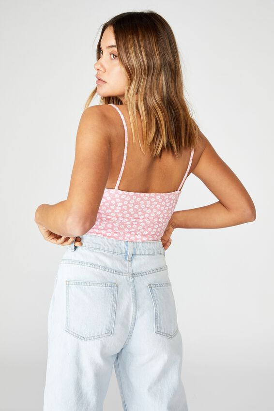 Remington Tie Front Rib Top, MARGOT MONO FLORAL/CAMEO PINK