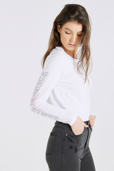 Long Sleeve Graphic Top, WHITE/ SANTA MONICA