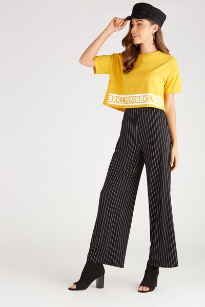 Wide Leg Jersey Pants, PIN STRIPE/BLACK
