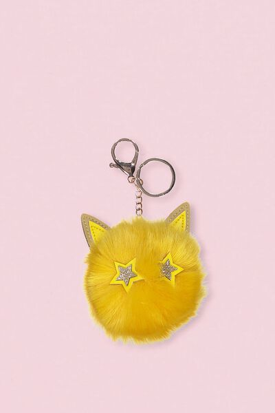 Faux Fur Star Bunny Keyring, MUSTARD