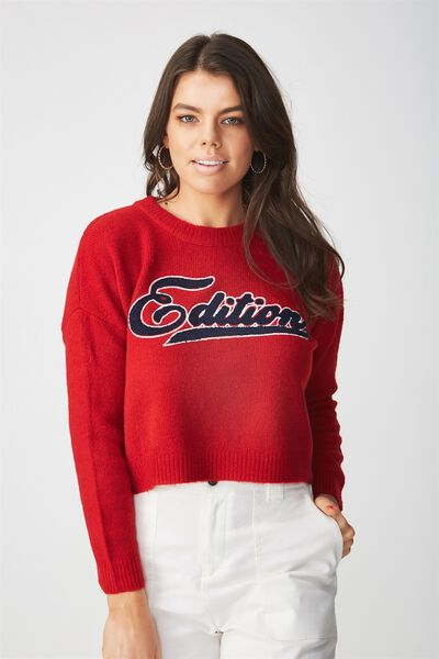 Cosy Graphic Knit Sweater, RED