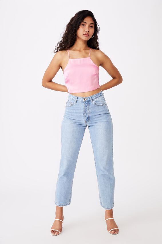 Gwenith Tie Back Crop, TICKLE PINK