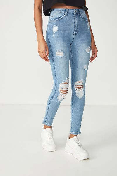 Skinny Premium Ripped Denim Jean, VINTAGE BLUE