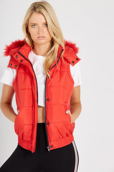 Faux Fur Trim Puffer Vest, RED
