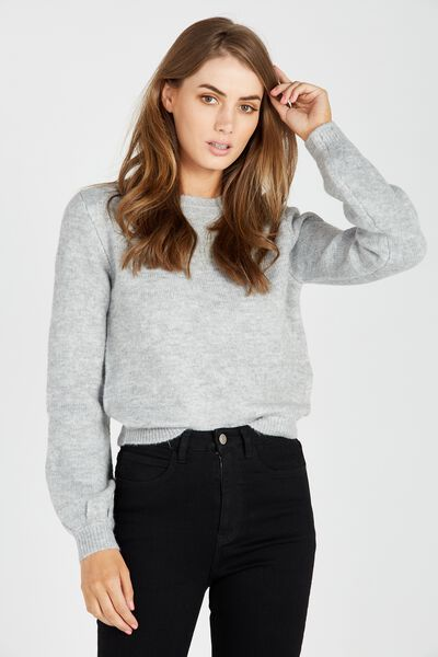 Clara Cosy Bell Sleeve Knit Top, GREY MARLE