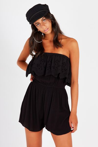 Coco Embroidered Strapless Playsuit, BLACK