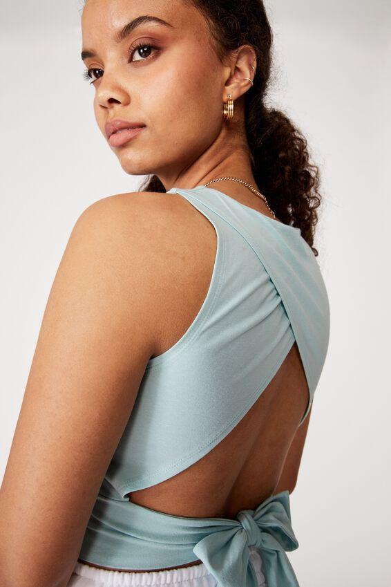 Sienna Backless Tie Up Top, REEF BLUE