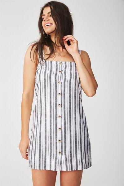Penny Button Through Linen Dress, SAHARA WHITE/BLACK STRIPE