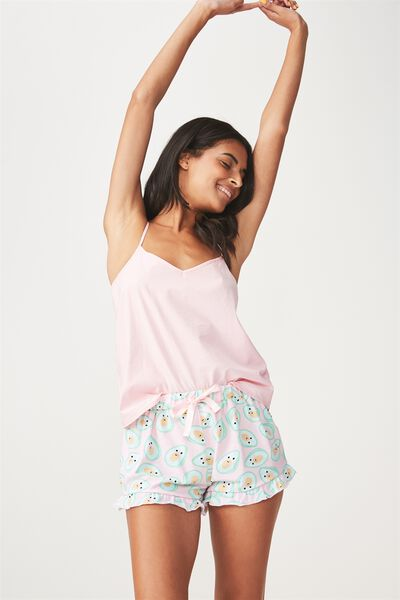 Frill Hem Sleep Short, PINK/AVOCADO
