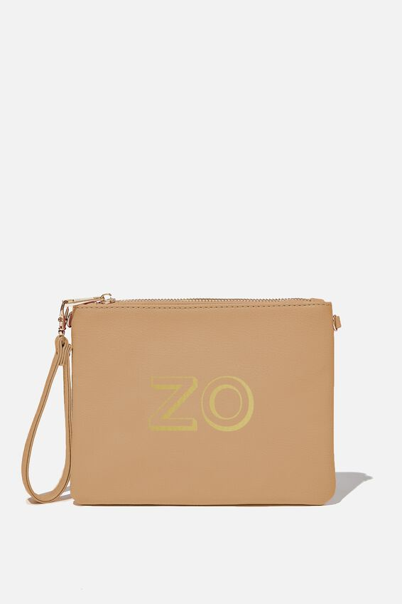 Personalised Sofia Zip Pouch, TAN PEBBLE