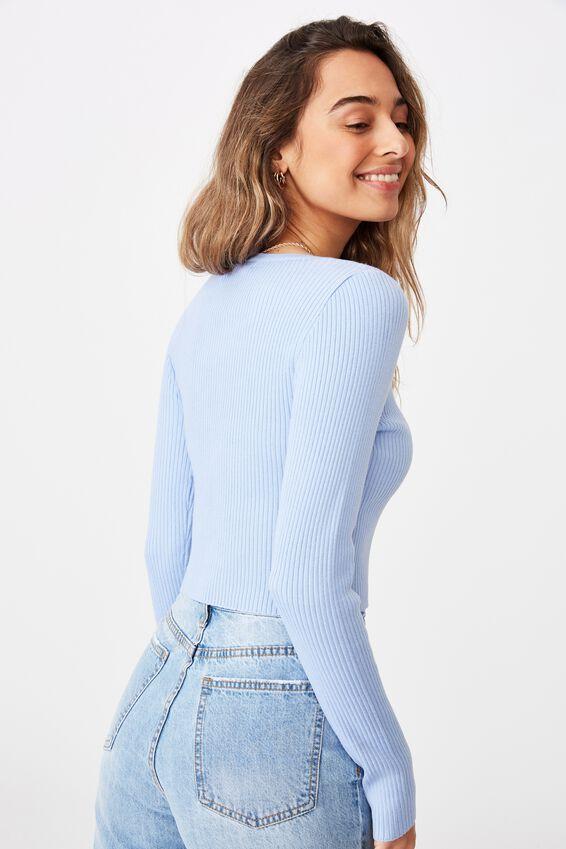 Olive Long Sleeve V Neck Cardi Knit, BLUE PETAL