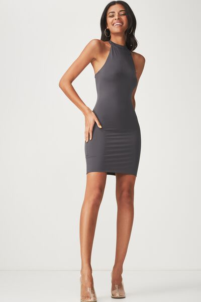 Party Halter Neck Dress, CHARCOAL GREY