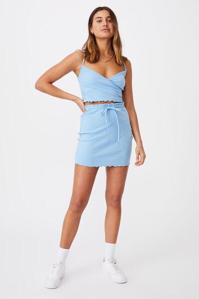 Brooke Lettuce Hem Jersey Skirt Co Ord Set, CAPRI BLUE