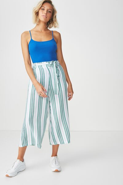 Crop Tie Waist Pant, TILE STRIPE GREEN