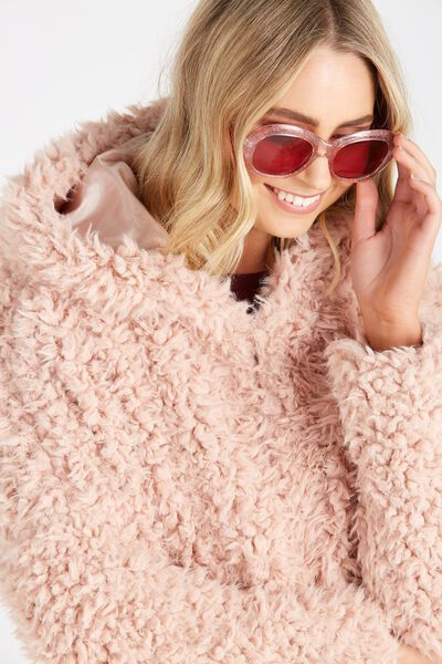 Gabby Hooded Oversized Teddy Jacket, BLUSH