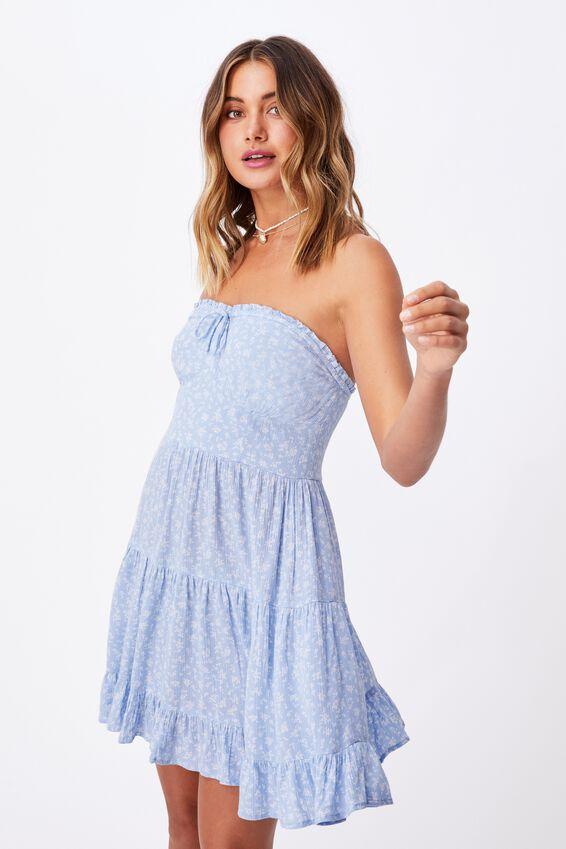 Savannah Tiered Bustier Dress, JENNY FLORAL BLUE PETAL