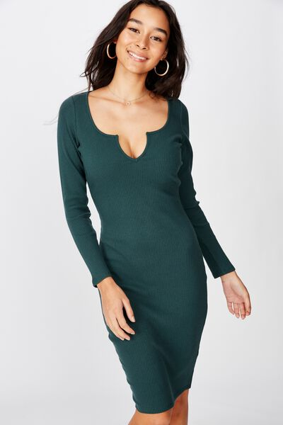 Seline Notch Front Dress, FOREST GREEN
