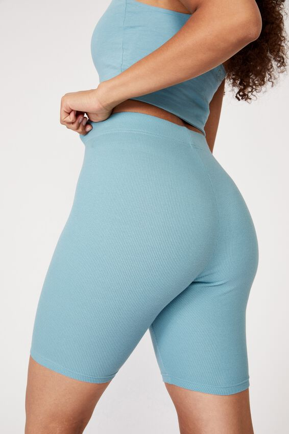 Emmy Rib Bike Short, CHALKY TEAL