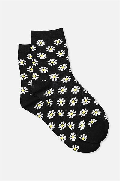 Fun Times Ankle Socks, BLACK DAISY