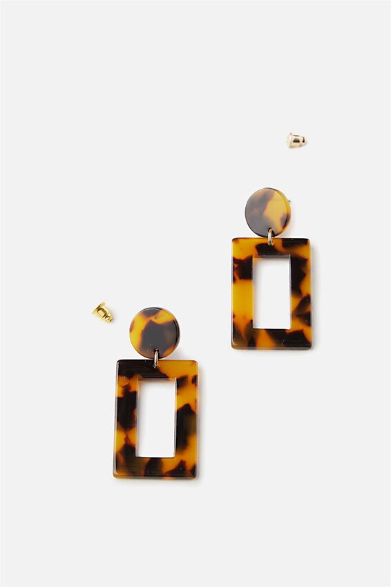 Rectangle Tort Earrings, DARK TORT