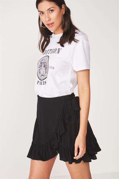 Frill Wrap Mini Skirt, BLACK
