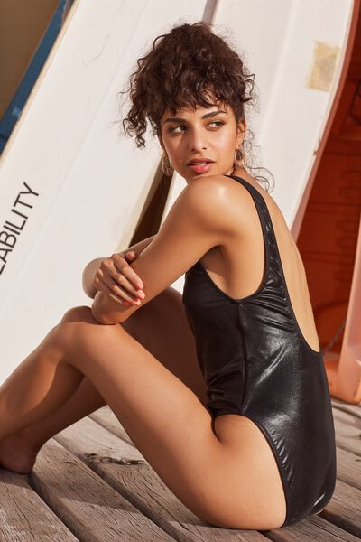 Leah Strappy One Piece Swimsuit, BLACK