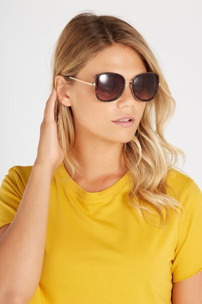 Bianca Lady Frame Sunglasses, TORT/GOLD