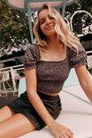 Danielle Aline Faux Leather Skirt, BLACK