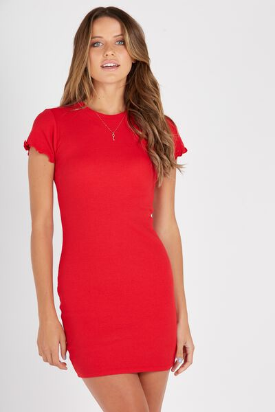Rib Bodycon T-Shirt Dress, RED