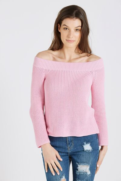 Paris Off Shoulder Knit, BLUSH