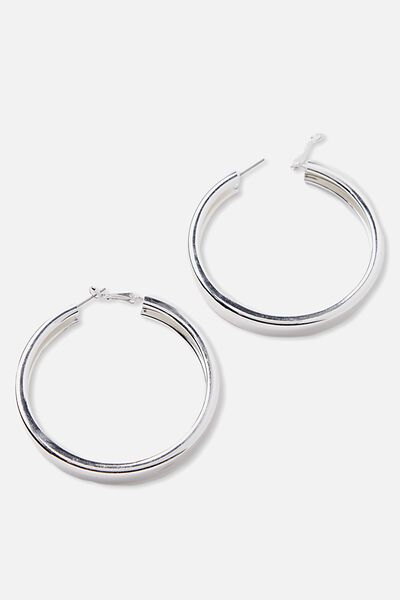 Thick Wide Hoops, SILVER