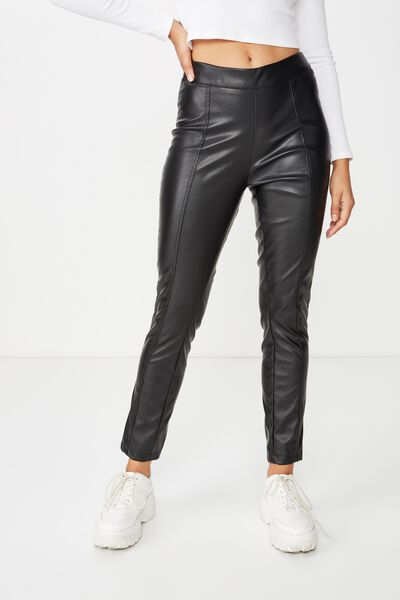 Spice Faux Leather Pant, BLACK