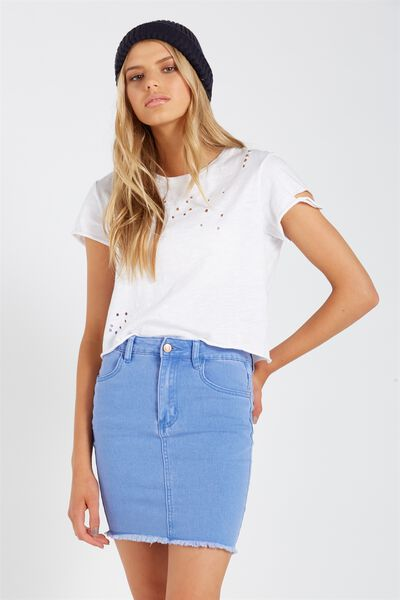 Charmed Mini Denim Skirt, VIOLET BLUE