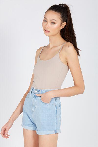 Basic Thin Strap Cami, STONE