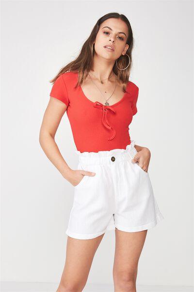 Allie Paperbag Waist Linen Blend Short, WHITE