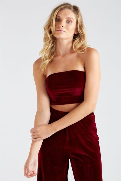 Velour Strapless Crop Top, BURGUNDY