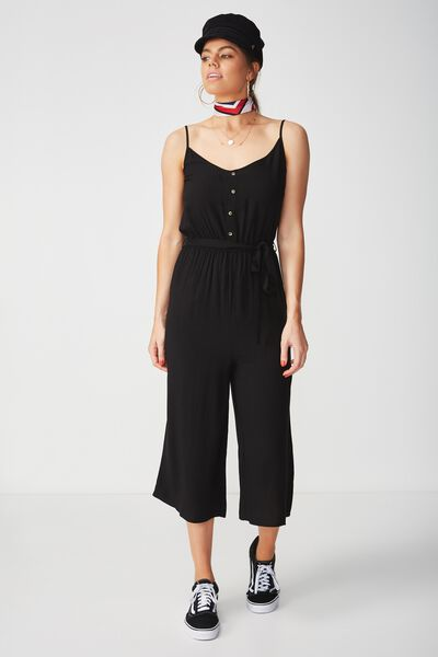 Strappy Button Front Jumpsuit, BLACK