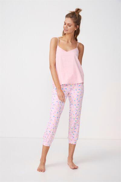 3/4 Printed Sleep Pant, PINK/CEREAL