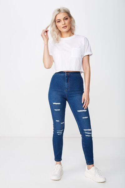 745350d76 Short Super Skinny Sky High Ripped Jean