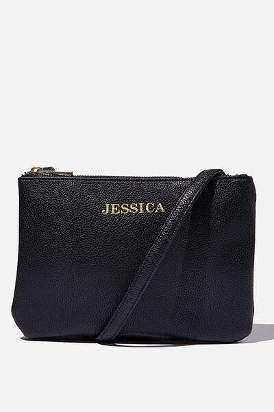 Customised Eliza Double Zip Bag, BLACK PEBBLE