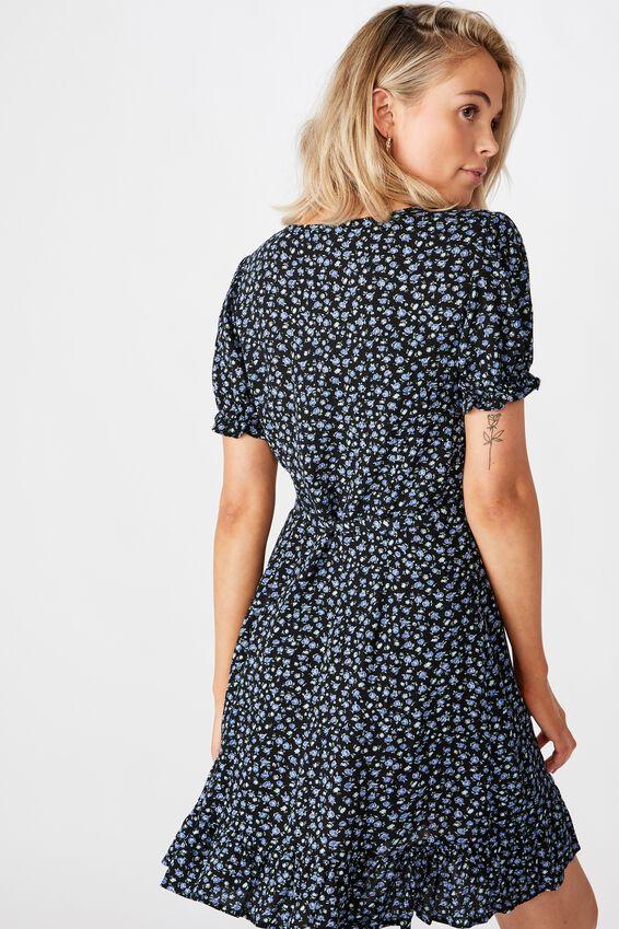 Ellie Peasant Sleeve Wrap Dress, RACHEL ROSE BLUE