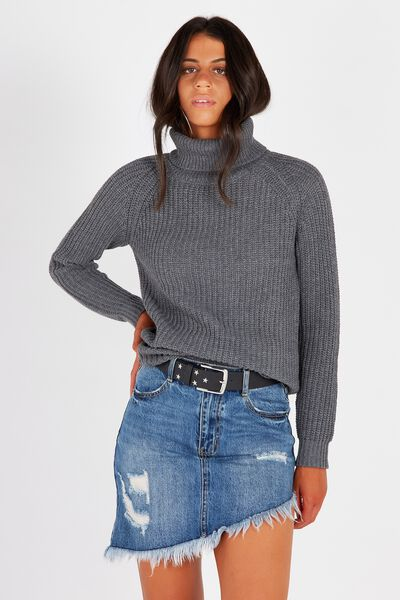 Hannah Roll Neck Knit, CHARCOAL