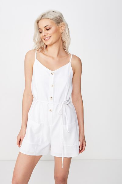 Charlie Button Front Playsuit, WHITE