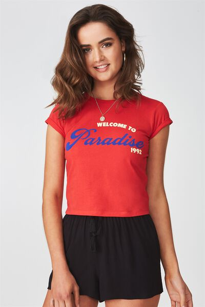 Printed Baby Tee, RED/WELCOME TO PARADISE