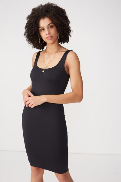 Party Scoop Neck Midi Dress, BLACK
