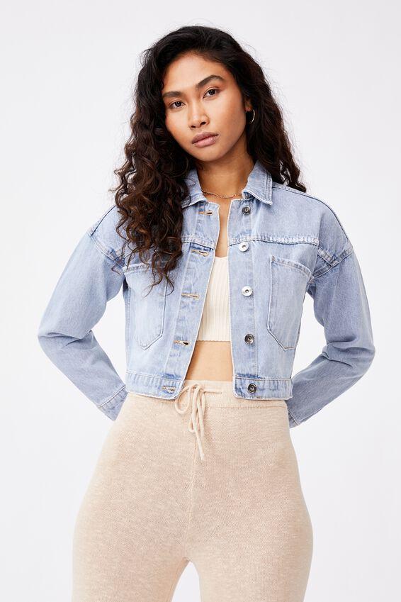 Crop Pocket Denim Jacket, VINTAGE BLUE