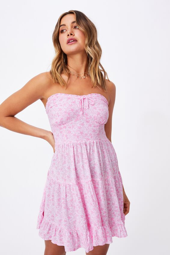 Savannah Tiered Bustier Dress, HANNAH FLORAL TAFFY PINK