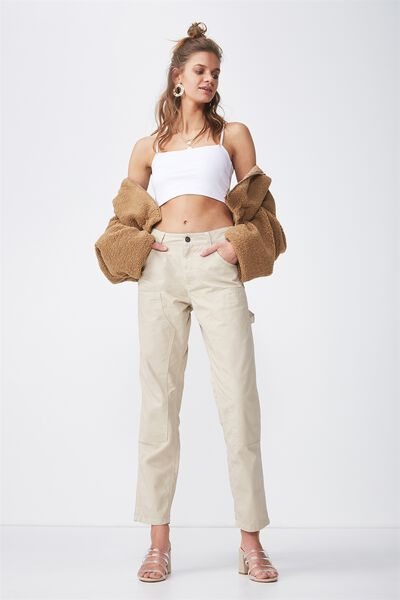Contrast Stitch Workman Pant, LATTE