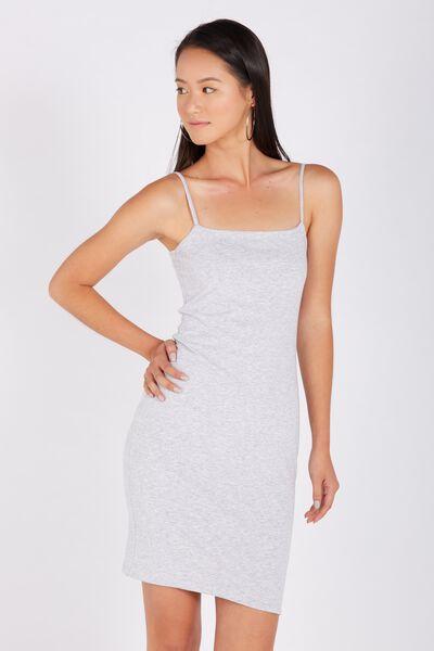 Basic Square Neck Cami Dress, GREY MARLE